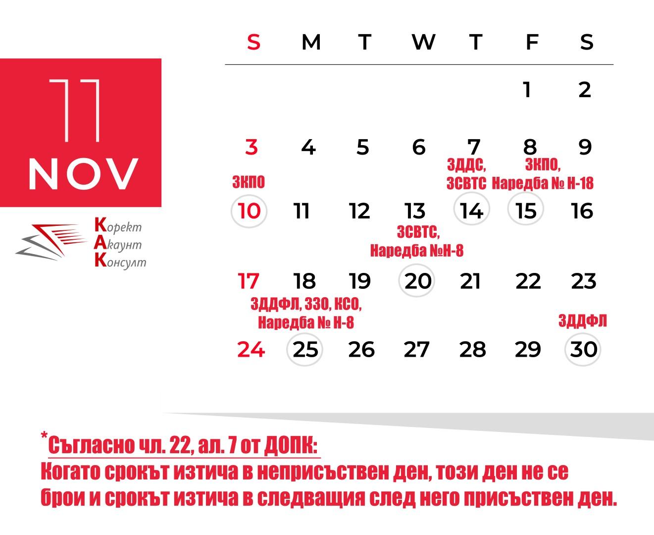 Данъчно-осигурителен календар – ноември 2019